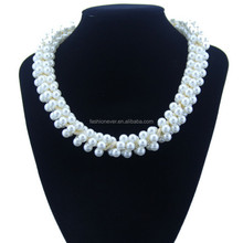 New Vintage Choker Gold Metal Chain with Pearl Necklace for Women