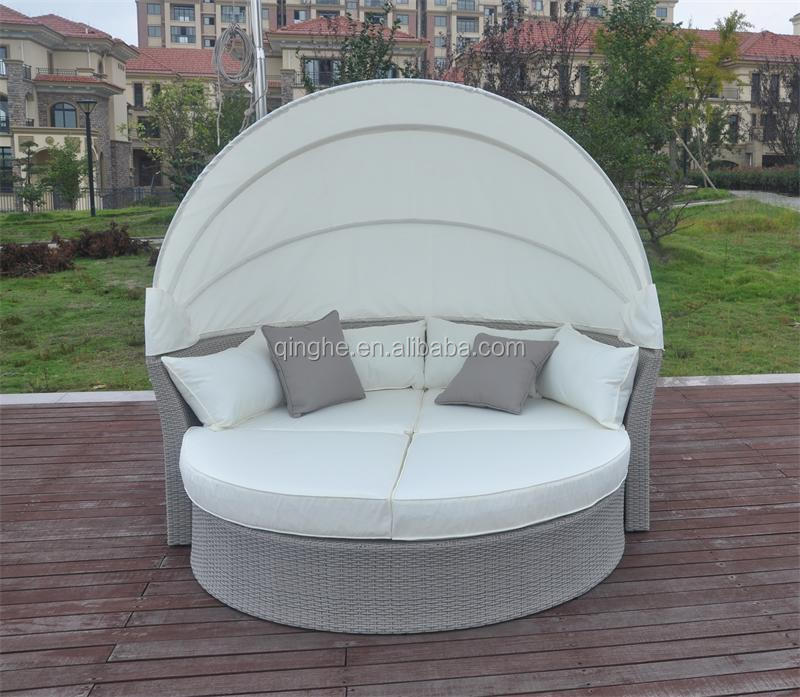 Qhh z009 outdoor furniture sofa bed round bed on sale for Outdoor lounge bed with canopy