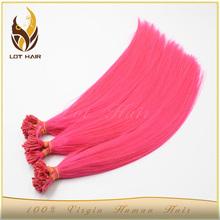 wholesale pink and purple brazilian hair U nail tip pre bonded hair