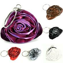 6 Color Women's Fashion Purse Handbag Rose Flower Clutch Evening Bag