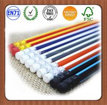 "7"" Wooden Pencils Bulk / Stripe Pencils /Top with eraser"