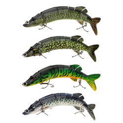 4pcs/lot 20cm 66g Lifelike Pike Muskie Fishing Lure 8-segement Swimbait Crankbait Hard Fishing Bait Treble Hook Fishing Tackle