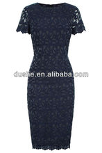 2014 u'sake las mujeres manga de la tapa de color azul marino de verano vestido de encaje s141534 diseños