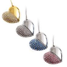 Alibaba china Crystal Diamond Heart Shape Jewelry USB Flash Drive with Necklace,usb flash drive price