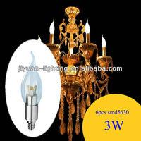 E14 E12 3X1W candle 3 volt led light bulbs 85~265V AC 300lm 100lm/W Bridgelux leds Factory price