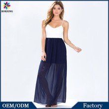 2015 Korea Summer Fashion Polyester Women Long Braces White&Blue Splices Dresses Backless Lace Tulle Women Maxi Dress