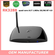 Hot selling!!Cloudnetgo 4K android TV box RK3288 Quad Core A17 7.8GHZ support Xbmc output youtube/skype/MSN with 2G DDR3+8G