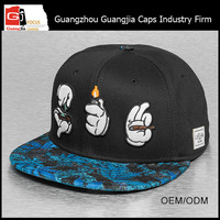 Guangjia Cap Factory Wholesale Custom Embroidered Logo Perforated Leather Brim Snap Back Caps