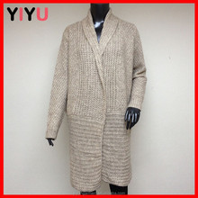korean sweater long sleeves mix wool color combination rolled collar long cardigan mature women wear