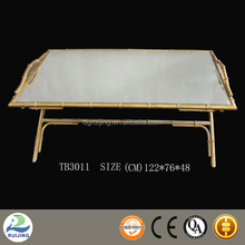 Gold Bamboo Framed Glass Coffee Table