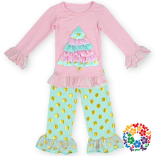 Amazing christmas tree kids/girls boutique clothing for little girl ,children's pink ruffled outfits