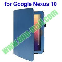 Litchi Texture Flip stand leather smart cover case for google nexus 10 with Holder
