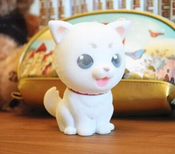 competitive price plastic cat coin bank with flocking surface,flocking cat saving bank