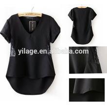 venta al por mayor negro 2014 manga corta blusa de gasa con encaje en la acción