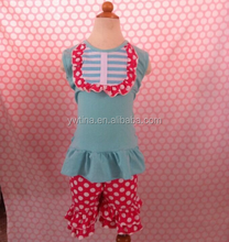 2015Hot Sale Toddler Girls Stripes Summer Outfit Ruffle Baby Bib Tank Top And Polka Dots Short Set Kids Clothing Set