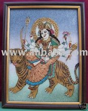 Maa Vaishano Devi Gem Stone Painting Art of Jaipur, India