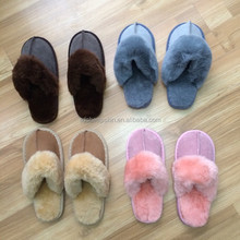 NEW! Women Brown Color Soft Sheepskin Shearling Slippers Real Leather size 7-8