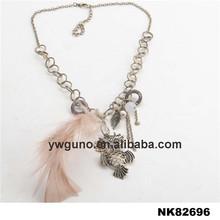 Metal lechuza collar colgante, collar de madera, collar de pluma