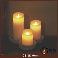 Moving wick LED candle with warm white dancing flame