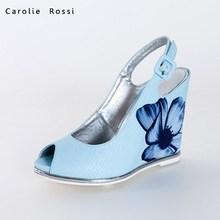 China sexy printing slingback women wedge shoes,woman wedge sandals2015 ,ladies wedge sandals