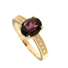 Wholesale factory price High-quality Natural Rhodolite Fashion Rings 18 Gold Diamond Ring