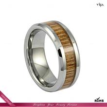Fashion jewelry wood inlay blank tungsten ring
