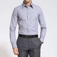 BUSINESS OXFORD GREY & WHITE PINSTRIPE SHIRT