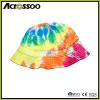 Ladies colorful tie dyed bucket hat,girl's multicolor printing hat