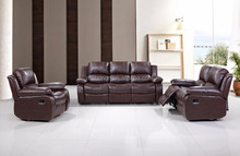 Low price cheapest sofa recliner set with black/brown bonded leather