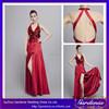Designers Halter Neck Keyhole Back Sequined Top Natural Waist High Side Slit Satin Skirt Floor Length Low Cut Girls Party Dress