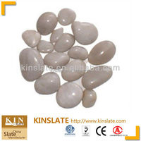 Polished natural snow white pebble stone