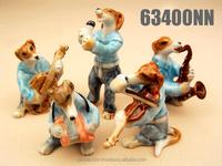 Handmade Miniature Craft Collectible Porcelain Ceramic Dogs Musical FIGURINE