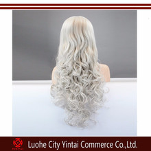 Kinky curly Grey synthetic hair wig top quality lace front synthetic wigs