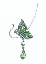 jade butterfly charm, necklace charm, earring charm