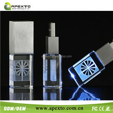 Nice packing crystal usb flash drive colorful led light 4gb with 3D logo laser inside