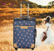 three birds royal luggage trolley case for women men and children