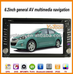 6.2 inch Car GPS / 2 Din Car DVD Player with with GPS,Ipod,DVD, radio, Bluetooth, AUX, touch,TF card,FM,AM,USB