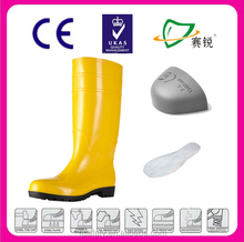 Yellow Water proof pvc food boot steel toe cap 2012 NEW anti broken chemical industry