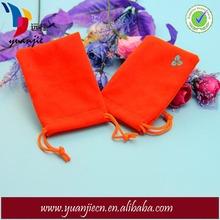 Fashion Cute Orange Gift Velvet Bag with Drawstring