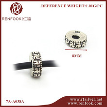 RenFook factory direct sale 925 sterling silver spacer bead with oxidised effect