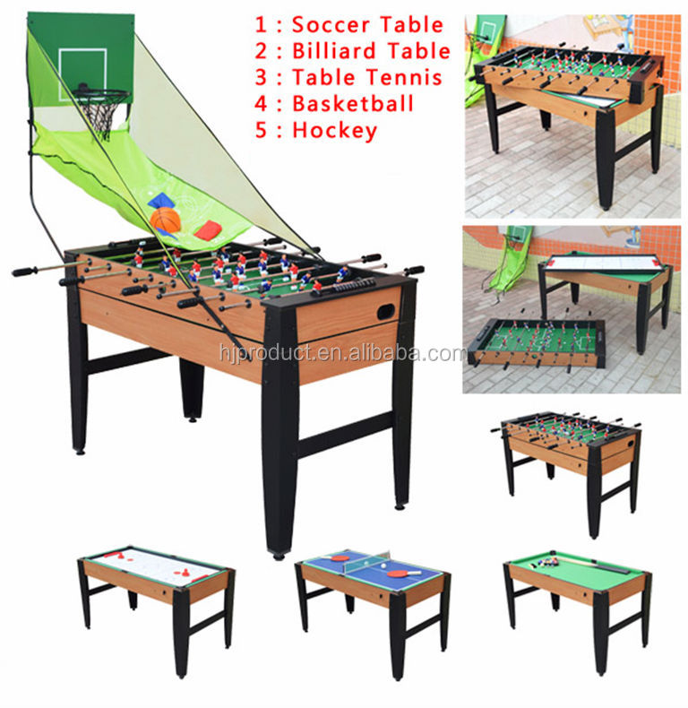 5 In 1 Pool Table MDF Multi Purpose Game Table For Kids
