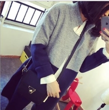 Top fashion latest design 2015 manufacturers overseas trend long sleeve knit tops coat comfortable women clothing