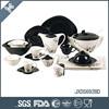 2015 NEW ITEM! 69pcs fine porcelain oval shape dinner set with sliver dots decal