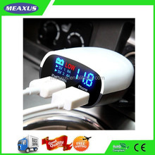 Smart Dual USB Car Charger with LED Display - Displays Voltage, Amps,Compatible with iP, Samsung Galaxy and Other Devices