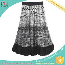 YS002 designer unique dot plus size white cotton maxi skirt