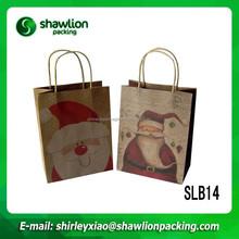 Christmas man printing logo gift brand paper bag, brown kraft paper bags with handles