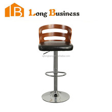 Modern swivel height adjustable wood bar stool