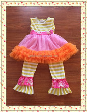 Vintage Clothing Wholesale Children No Sleeve Dress Top Match Casual Ruffle Stripe Pant Children's Clothing Sets