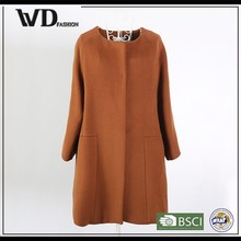 Hot New Products For 2015 Women Brown Mixed Fabric Coat Cheap, Long Coat
