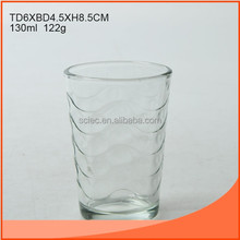 130ml clear glass cup with curve line on body
